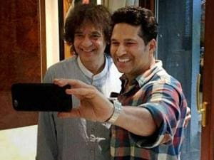 Cricket legend Sachin Tendulkar with Tabla Maestro Ustad Zakir Hussain