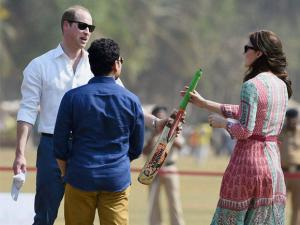 Prince William, Duke of Cambridge and Catherine, Duchess of Cambridge along with Cricket Legend Sachin Tendulkar during a charity program at Oval Maidan in Mumbai