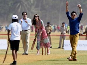 Prince William, Duke of Cambridge and Catherine, Duchess_of Cambridge along with Cricket Legend Sachin Tendulkar during a charity program at Oval Maidan in Mumbai