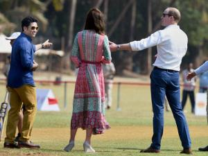 Prince William, Duke of Cambridge and Catherine, Duchess of Cambridge along with_Cricket Legend Sachin Tendulkar during a charity program at Oval Maidan in Mumbai.