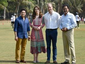 Prince William, Duke of Cambridge and Catherine, Duchess of Cambridge along with Cricket Legend Sachin Tendulkar during a charity program at Oval_Maidan in Mumbai.