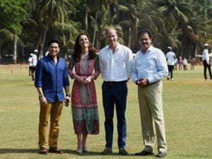 Prince William, Duke_of Cambridge and Catherine, Duchess of Cambridge along with Cricket Legend Sachin Tendulkar during a charity program at Oval Maidan in Mumbai.