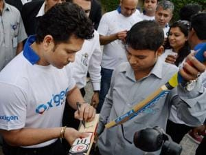 Cricket Sachin Tendulkar at an event in Gurgaon