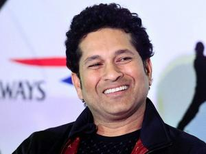 Sachin Tendulkar interacts with media during the launch of equipment range Sachin by Spartan in Mumbai