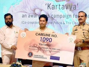 Sachin Tendulkar along with PDW minister Eknath Shinde and Thane commissioner of police