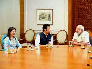 PM Narendra Modi with cricket legend Sachin Tendulkar and his wife Anjali