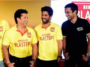 Sachin Tendulkar with Allu Arjun and Badminton coach Pullela Gopichand in Bengaluru