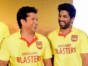 Sachin Tendulkar with Allu Arjun during an event to launch their Badminton team Bengaluru Blasters