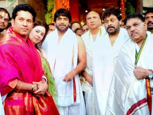 Cricket legend Sachin Tendulkar accompanied by wife Anjali and actors Chiranjeevi, Nimmagadda Prasad and Akkineni Nagarjuna coming out of Lord Venkateswara temple at Tirumala