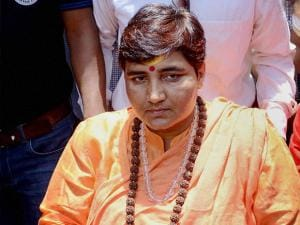 Sadhvi Pragya Singh Thakur, who got a clean chit by the NIA in the Malegaon blast case, coming out of a hospital in Bhopal