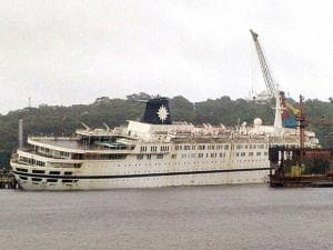 Efforts are on to salvage the cruiseliner ship QING of Sahara India Pariwar