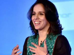 Ace shuttler Saina Nehwal speaks at an event where she was announced as the brand ambassador of Honor e-smartphones for India, in New Delhi