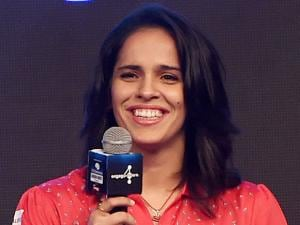 Badminton player Saina Nehwal during a promotional event