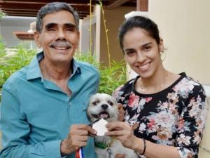 Saina Nehwal with her father Harvir Singh