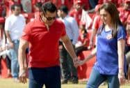 Chairman of Dhirubhai Ambani Foundation, Nita Ambani with Bollywood actor Salman Khan, takes a shot