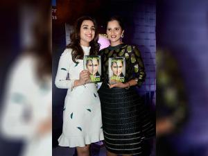 Sania Mirza and actress Parineeti Chopra at the release of  Ace against Odds