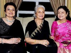 Waheeda Rehman, Asha Parekh and Aruna Irani during the launch of Parekh's autobiography 'The Hit Girl'