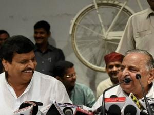 Mulayam Singh Yadav  with party's UP President Shivpal Yadav