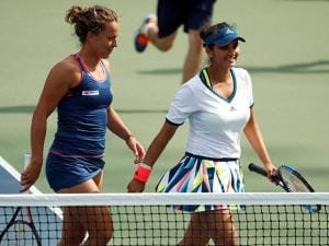 Sania Mirza and doubles partner Barbora Strycova, of the Czech Republic