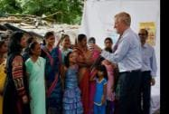 U.S. Sen. Angus King (I-Maine) interacts with women and children