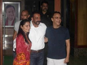 Sanjay Dutt with Manyata and producer Vidu Vinod Chopra