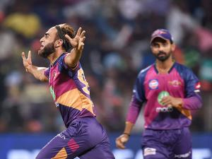 Rising Pune Supergiants bowler Imran Tahir celebrates the wicket