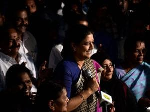 AIADMK General Secretary VK Sasikala addressing media