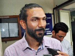 Samson D'Souza interacts with the media