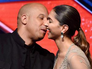 Hollywood actor Vin Diesel with  Deepika Padukone during a press conference