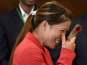Boxer Mary Kom at a warm send-off ceremony organised for the Indian contingent