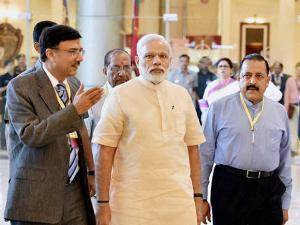 Narendra Modi with Minister of Youth Affairs and Sports Jitendra Singh arrives to attend  a warm send-off
