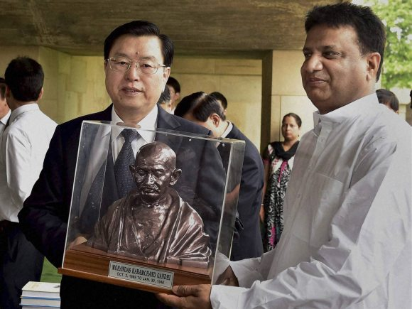 Mahatma Gandhi, Rajghat, New Delhi, Congress of China, India, China, Zhang Dejiang, Narendra Modi, Chinese, Xin Shusen, IAF station Palam, New Delhi