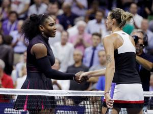 Karolina Pliskova, of the Czech Republic, greets Serena Williams