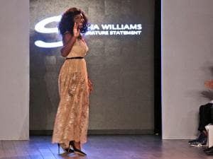 Serena Williams greets the crowd after showing her Serena Williams Signature Statement Spring 2017 collection