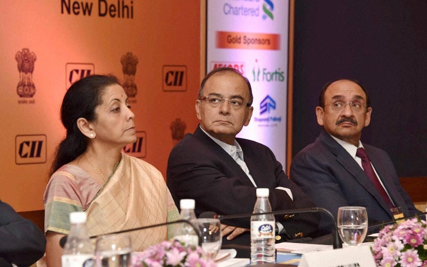 Finance Minister, Arun Jaitley, MoS for Commerce and Industry, Nirmala Sitharaman, CII President, Ajay S Shriram,  opening session of Services Conclave 2014, New Delhi