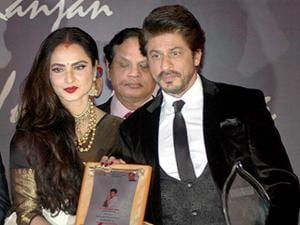 Shahrukh Khan receives 4th Yash Chopra Memorial National Award from actress Rekha in Mumbai