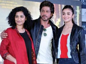 Gauri Shinde with Shah Rukh Khan and Alia Bhatt at a promotional event of their upcoming film 'Dear Zindagi