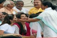 Chief Minister Mamata Banerjee with Tollywood actress during 21st Jully Shahid Diwas rally in Kolkata