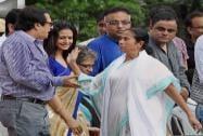 Chief Minister Mamata Banerjee with Tollywood stars at Trinamool Congress' 'Shahid Diwas' rally in Kolkata