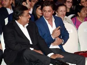Mukesh Ambani along  actor Shahrukh Khan during the book launch of  author Gunjan Jain