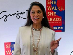 Simmy Garewal arrives for the book launch of Gunjan Jain