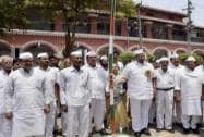 Sharad Pawar at the flag hoisting ceremony of the party's sixth national convention