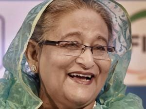Sheikh Hasina, PM of Bangladesh at a business meeting 'Indo-Bangladesh Business Forum'