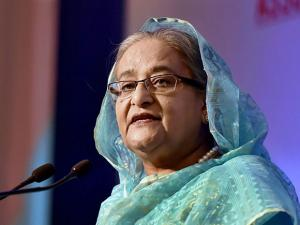 Sheikh Hasina, Prime Minister of Bangladesh at a business meeting 'Indo-Bangladesh Business Forum'
