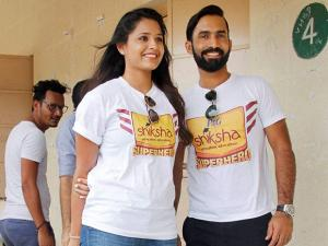 Dinesh Karthik and Dipika Pallikal At Shiksha School
