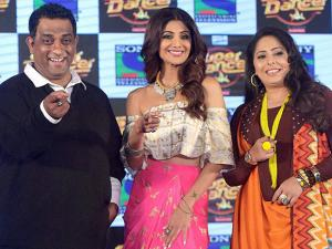 Shilpa Shetty along with director Anurag Basu and choreographer Geeta kapoor at the launch event of a dance reality show