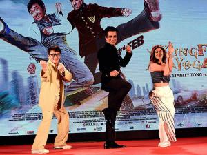 Actor Jackie Chan, Sonu Sood and Shilpa Shetty during a promotional event of his movie 'KungFu Yoga in Mumbai