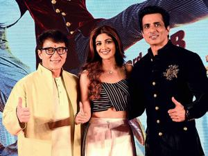 Actor Jackie Chan, Sonu Sood and Shilpa Shetty during a promotional of 'KungFu Yoga in Mumbai