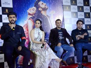 Shraddha Kapoor, Arjun Kapoor, Author Chetan Bhagat and filmmaker Mohit Suri during the trailer launch of their film Half Girlfriend