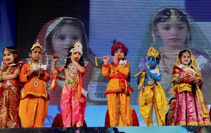 child, dressed up, Lord Krishna and radha participate in 'Bal Gopal' contest on the occasion of Janamashtami festival